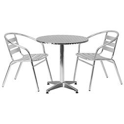 Flash Furniture Round Aluminum Indoor Outdoor Table with 2 S