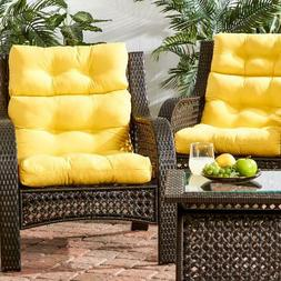 Set Of 2 Chair Cushion Foam High Back Solid Outdoor Patio Se