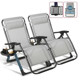 Set of 2 Extra Wide Heavy Duty Zero Gravity Chairs Recliners
