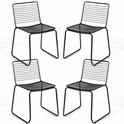 Set of 4 Armless Metal Dining Chairs Patio Indoor Seat Stack