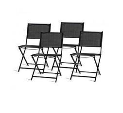 Set of 4 Black Folding Sling Back Chairs Outdoor Patio Garde