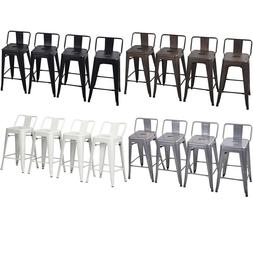 Set of 4 Metal Bar Stools Counter Height Barstool Chair w/ L