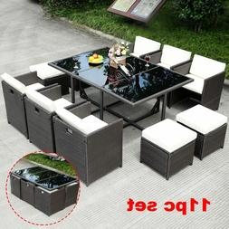 Large Patio Dinning Set Wicker Rattan Outdoor Clearance Part