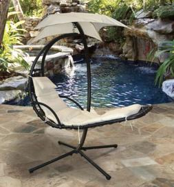 Sky Lounger Beige Outdoor Patio Chair With Umbrella