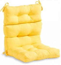 Solid Outdoor High Back Chair Cushion W/ Soft Polyfiber Fill
