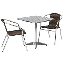 Flash Furniture Square Aluminum Indoor Outdoor Table with 2