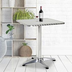"""24""""L Adjustable Height Pub Bar Table Home Silver Aluminum In"""