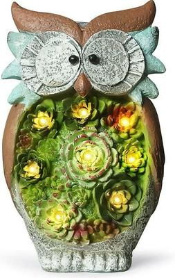 Statue Owl Figurine Light Garden Outdoor Decor Landscape Yar
