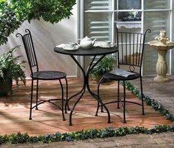 Table And Chairs Set Garden Patio Furniture Black Metal Roun