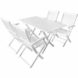 Top Quality Solid Wood Garden Dining Set 5 Pieces White Outd