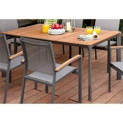 Furniture of America Trevis Patio Dining Table in Oak and Gr