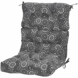 Tufted Outdoor High Back Patio Chair Cushion- Black Floral