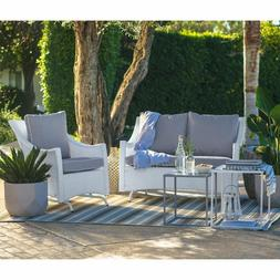 White 2 Piece Resin Patio Glider Chair Seating Set Outdoor H