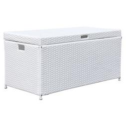 Outdoor White Wicker Patio Furniture Storage Deck Box
