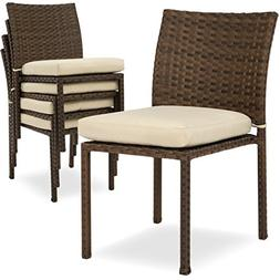 Best Choice Products Outdoor Wicker Patio Stacking Chairs Se