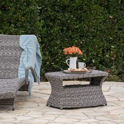Wicker Rattan Patio Furniture Side Table Gray Christopher Kn