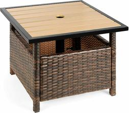 wicker rattan patio side table outdoor furniture
