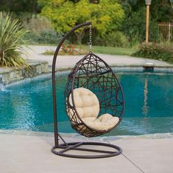 Wicker Tear Drop Hanging Egg Chair Swing w/ Stand Outdoor Ha