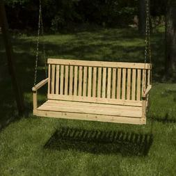 Wood Bench Swing with Chains 5 Ft. Porch Patio Seat Outdoor