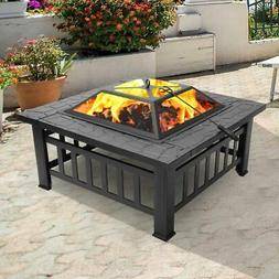 Wood Burning Fire Pit Outdoor Heater Backyard Patio Deck Sto