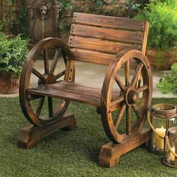 Wood Wagon Wheel  Chair Bench Seat Garden Patio Deck Unique
