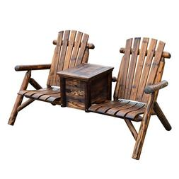 Outsunny Wooden Outdoor Two Seat Adirondack Patio Chair w/ I